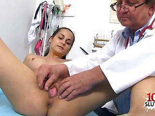 Dark Hair doctor gaping with ejaculant shot