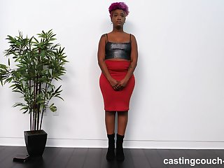Amateur curvy ebony Alexandria sucks a black dick on the casting couch