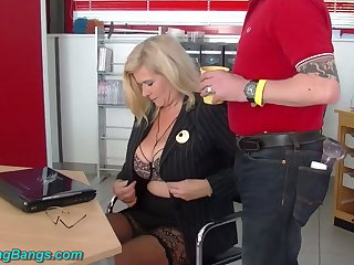 Wild huge breasted warehouse secretary Marina Montana is fucked away from studs
