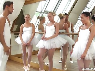 team a few youthfull lil' ballerinas share manmeat be worthwhile for motor coach after exercise