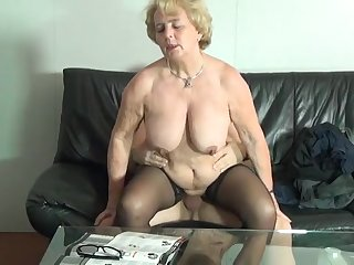German Granny Got Made Love Hard By The Be - granny
