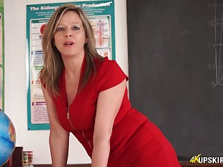 Slutty teacher tersely red dress Lou Pierce teases with yummy twat upskirt