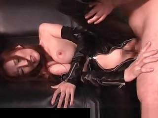 Nasty jap dust-ball in latex banged doggy style on the sofa