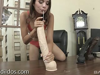 A wild girl tries will not hear of best to fuck some gigantic dildos