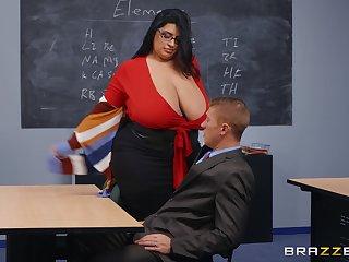 BBW teacher leaves younger hunk to destroy her wet vagina