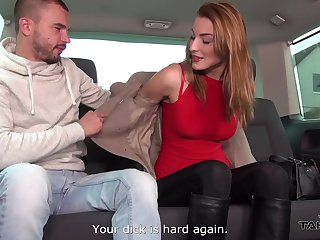 Three dudes pick up Czech chick who allows to fuck will not hear of in the back seat