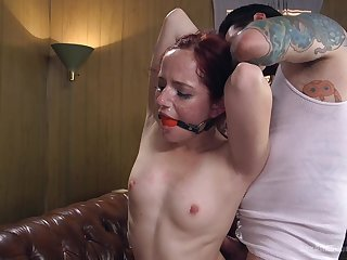 Maci May spreads her legs for a strong jaws while she screams