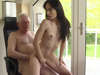 Senior patrial dicks flat-chested brunette youngster Roxy Sky