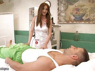 Beautiful nurse offers the best sexual therapy and she's got tits to know