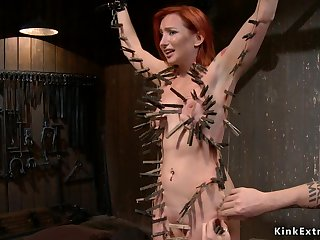 Redhead slave gets whole piecing together clamped