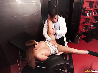 Dutiful sweetheart gets fucked in a Master's well-appointed dungeon