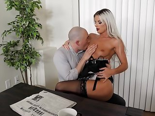 Sexy blonde maid likes fucking with the old hand when his get hitched is not home