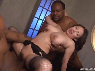 Interracial fucking between black dudes plus Japanese Mako Oda