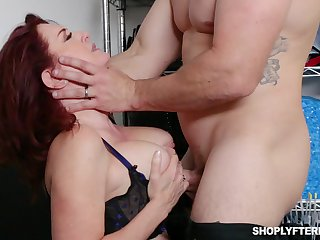 Busty ginger MILF secretary Andi James is used for some constant casual sex