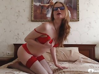 Naughty stepmom in fishnets puts on a solo