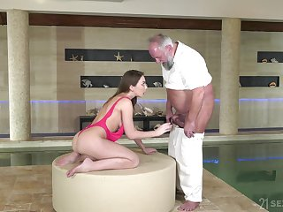 Babe uses that venerable man for money and she is a true cock sweetheart
