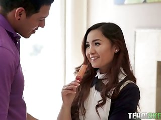 Naughty Asian college cooky with cute ass is made for good doggy fuck