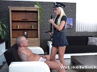 Horny and strict blonde cop Victoria Daniels makes toff groan during oral petting