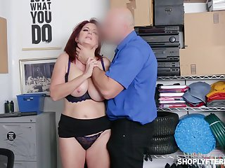 Ginger milf Andi James takes cumshots on fat natural boobs after crazy pussy pounding