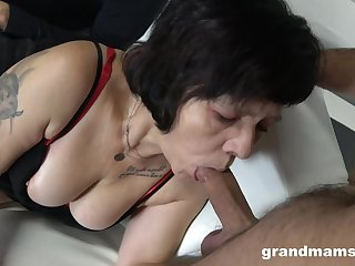 Two sex-starved guys fuck mouth and pussy be advisable for hooker granny in red stockings