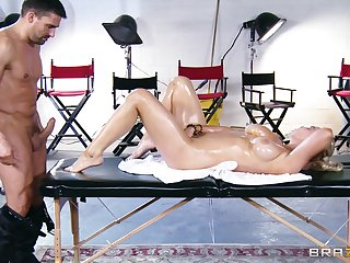 Wild pussy and tits shafting on the massage table close to Abbey Brooks