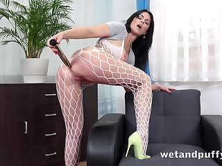 Wild big bottomed plow in fishnet pantyhose Julia Blacklist loves solo