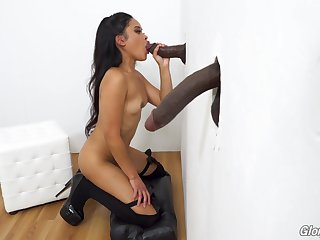 Glory hole pussy and blowjob with Asian Violet Rae