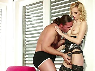 Awesome lingerie fuck and ass cumshot with babe Jenny Smart