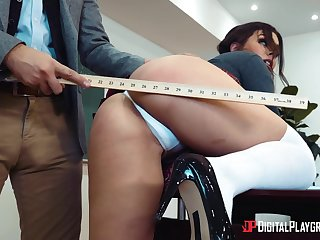 Hung teacher gets the best of hot coeds Kimber Woods and Kristen Scott