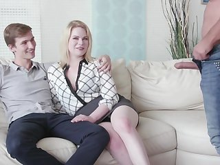 Cuckold boyfriend watches his GF Adry Berty having sexual connection with a stranger