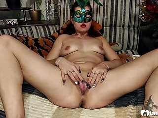 Seductive stepmom masturbates with a bottle before going to bed