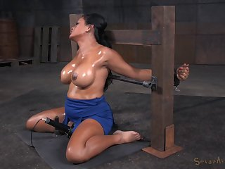 Ebony slave unspecified Maxine X tied up and agonizing at the end of one's tether duo dudes