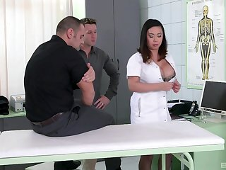 Nurse concerning generous boobs, screwy Asian porn on team a few big dicks