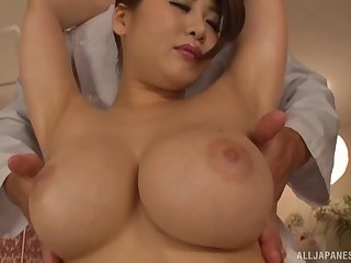 Busty Japanese model Oshikawa Yuri gets her cunt fucked outlander sneakily