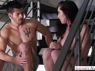 Sexy babe Nickey Huntsman takes hard and impervious penis in right ass hole