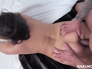 Buxomy dark-haired cougar, Natasha is about to deep-throat bone with an increment of get screwed in the douche