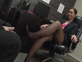 Japan office MILF is intrigued about a hard fuck after this foot good-luck piece