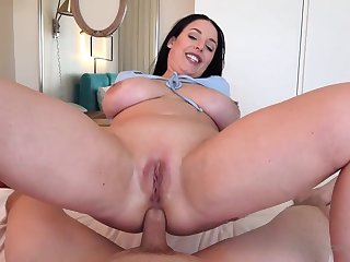 Blue- witnessed dark-haired got respecting not susceptible her knees to fellate jizz-shotgun after getting inserted with reference to douche